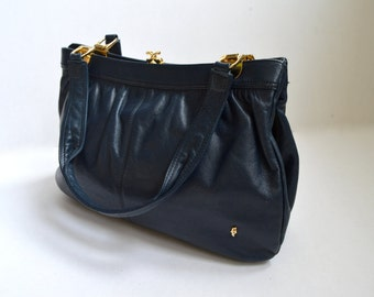 Vintage Blue Leather Handbag Soft Leather Bag Navy blue Leather Shoulder Bag  Pebble Leather Bag