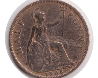 George V Half Penny 1928 Coin (Polished) (Code: JMC1857)