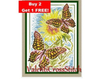 Butterflies Cross Stitch Pattern,Flower,Summer,Sun,Butterfly,Counted Cross Stitch Patterns