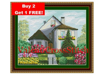 House Cross Stitch Pattern,village pattern,Сottage Cross Stitch Pattern,Counted Cross stitch