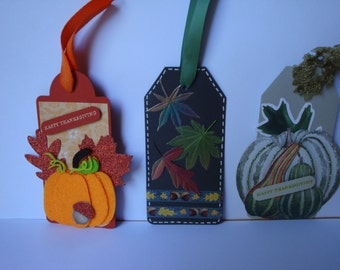 Deluxe Thanksgiving Hostess Gift or Doggie Bag Tag Assortment.  Large Gift Tags.  Dimensional and Textured.  Set of 5 Thanksgiving Tags.