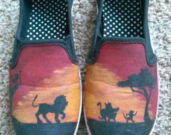 Lion king silhouette hand painted shoes