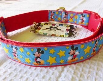 Dog Collar Mickey with Stars Large