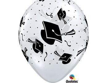 "11"" Clear Graduation Print Balloons: Class of 2017, Tassel, Wedding, Shower, Birthday, Baby, Graduation, 1st Birth, Spring Celebration, Prom"