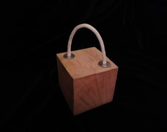 Solid Oak Door Stop With Rope Handle And Washer Detail