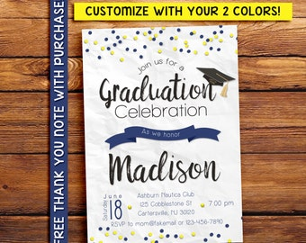 Custom color graduation invitation, printable invitation