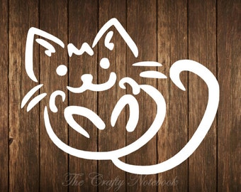Kitty Cat Decal Vinyl Sticker • Vehicle • Yeti • Tumbler • Guitar • LapTop • Choose Your Color/Size • Large Orders Welcome