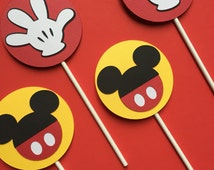 Mickey CupCake Toppers Birthday CupCake Toppers Mickey Mouse Birthday Party Mickey Mouse Cup Cake Sticks Cup Cake Decor Mickey Cake Topper