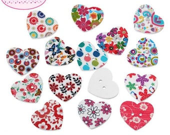 50 buttons form heart 25mm