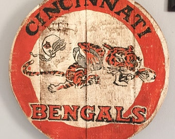 Hand Painted Vintage Styled Cincinnati Bengals Plaque