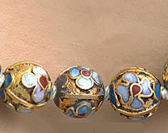 """Vintage Cloisonne Beads Necklace 22-1/4"""" Wearable Length; 8MM Beads"""