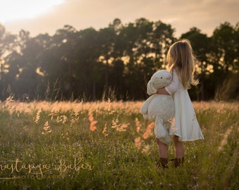Fine Art Photography Print of a Small Girl in a Field of Wild Grass Holding a Stuffed Animal During a Sunset