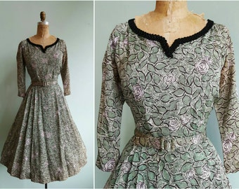 Vintage 1950s Green Rose Garden Dress | Size Small