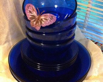 Vintage Blue Cobalt Dinnerware Set