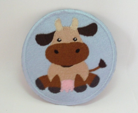 Cow applique embroidery patch farm animal iron on