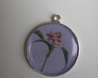 hand painted flower pendant