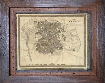 1844 Map of Madrid, Spain