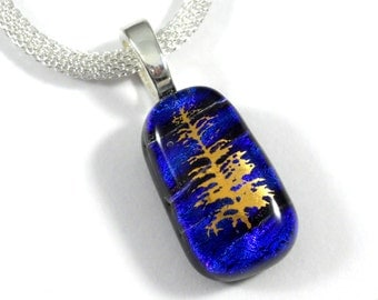 Tree of Life Blue Dichroic Glass Pendant, Cobalt Blue Purple Fused Glass, Silver Chain Necklace