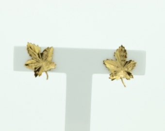 9ct Gold Maple Leaf Earrings (SKU553)