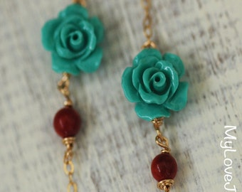 turquoise rose gold, Turquoise necklace, gold necklace, bridesmaid necklace, rose necklace, charm necklace, delicate necklace everyday
