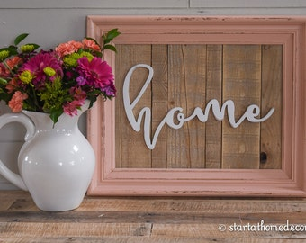 FINISHED Reclaimed Wood Peach Home Sign