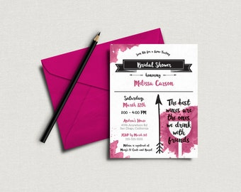 Wine Tasting Bridal Shower Invitation - 5x7 Invite. Custom Bridal Shower Invite - DIY Printing *DIGITAL FILE*