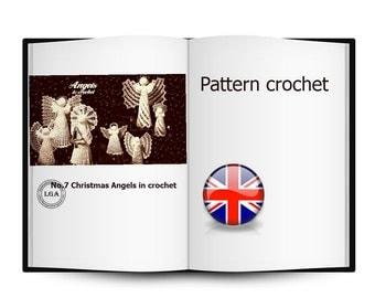 No.7 Christmas Angels in crochet, Christmas decoration, Angels Bells, Pattern crochet