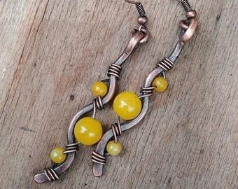 Yellow jade earrings Copper long dangle earrings Rustic copper earrings Autumn color earrings Hammered copper earrings yellow jade jewelry