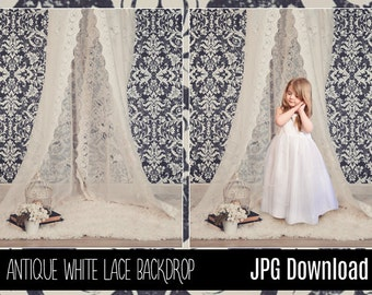 Baby Toddler Child White Lace Canopy Studio Digital Backdrop - Damask Pattern Background - Photography Background with Fur PNG Coverup