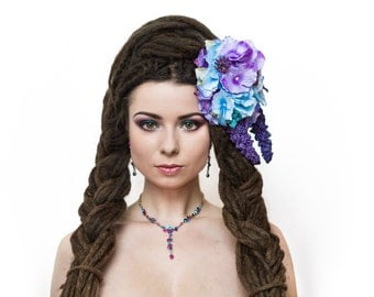 Purple lilac blue floral hairclip headpiece with artificial flowers fantasy fairytale headdress