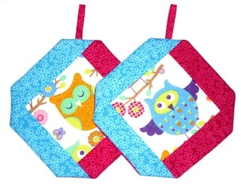 Oven mitts owl, blue - pink