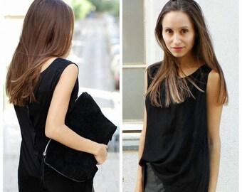 50% SALE, Black Sleeveless Top Black Sleeveless Black Top Sleeveless Top Minimalist Top Minimalist Blouse Sleeveless Blouse Sleeveless Shirt