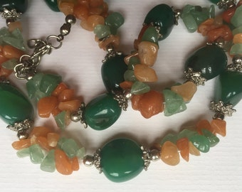 Handmade Chunky Natural Semi Precious Stones Pendant Necklace/Deep Green/Cornelian Nephritis Jade Necklace/Lobster Clasp