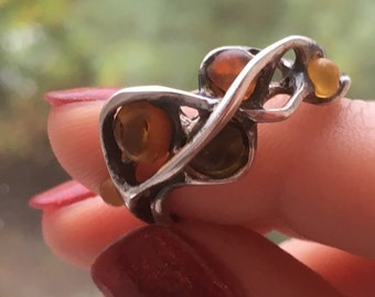 Vintage Modernist Sterling Silver Amber Ring/Russian Silver/Baltic Amber/Burnished Silver/1980s