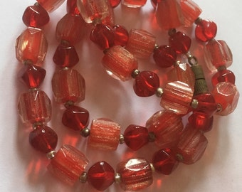 Red Vintage Murano Glass Necklace/Translucent Beads/Cased Beads/Screw-in Clasp