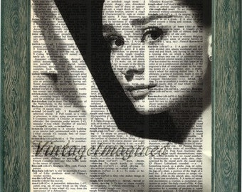 Audrey Hepburn art print on 8x10 upcycled dictionary page 8x10