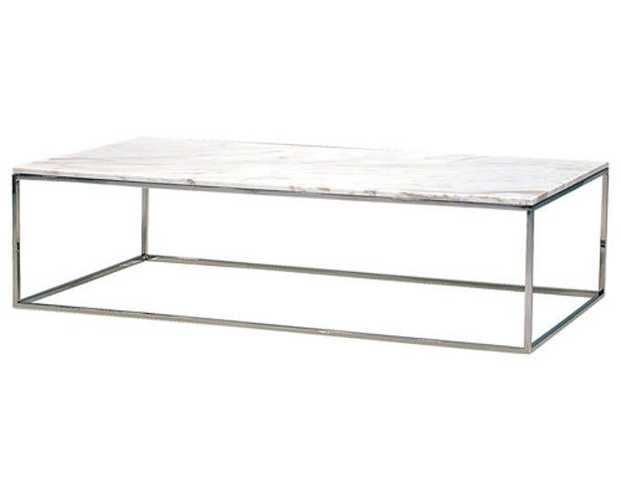 Modern Design Coffee Table with Italian Marble Top MADE IN ITALY 60x80x33,5 cm