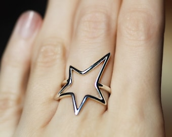 Star ring Ring with Star Silver ring Gold ring Gift idea