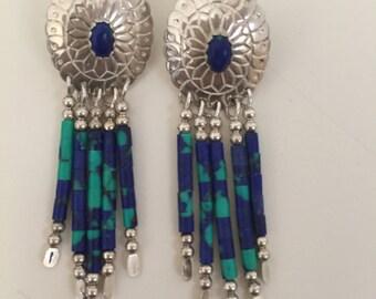 Sale!!! TK Emerson Signed Southwest Turquoise & Jasper Earrings