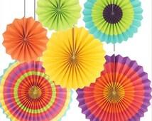 6 PAPER FAN SET / wedding decorations /diy/birthday decorations / multi coloured decoration /fiesta party
