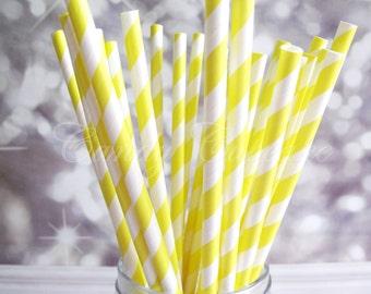 YELLOW/LEMON STRIPE, 25 Paper Straws With Yellow/Lemon & White Stripes, Birthday,Wedding, Christening, Baby Shower Straws
