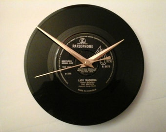"The beatles -lady Madonna 7"" record clock  birthday, wedding, anniversary, xmas gift  fathers day"