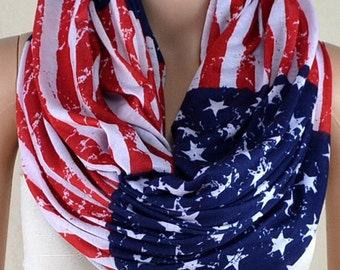 Cotton fabric scarf, restore ancient ways the flag scarf, the American flag scarf, infinite loop infinity scarf, collar