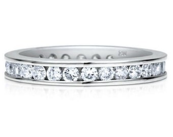 Full Eternity Stackable CZ Wedding Band Channel Set Round Cubic Zirconia Wedding Engagement Promise  Ring