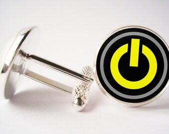 Power Start Buttun Cufflinks ( Silver / Bronze / Black metal) Buttun Cufflink Image under glass