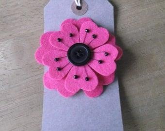 Felt pink flower brooch