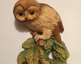 This is a Beautiful Rare Bossons Chalkware Wall Plaque of an Owl