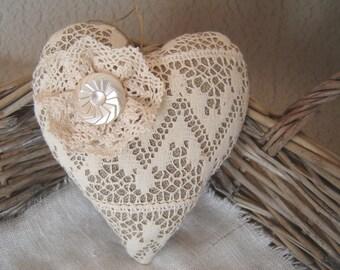 Hanging heart. Linen heart ornament. Home decor. Rustic heart. Heart door hanger. Lace heart.