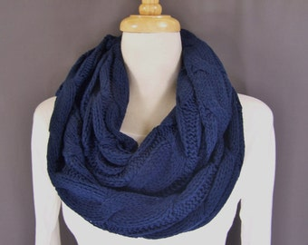 Navy Blue cable knit infinity scarf soft chunky knit circle endless loop long circular dark blue scarf cabled scarf fall winter scarf