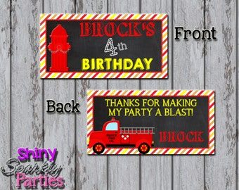 Printable FIRETRUCK TREAT Bag TOPPERS - Firetruck Treat Toppers - Firetruck Bag Tags - Firetruck Favor Bag Toppers - Firetruck Birthday